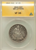 Seated Half Dollars: , 1840 50C Reverse of 1839, Small Letters VF35 ANACS. NGC Census:(1/28). PCGS Population (13/207). Mintage: 1,435,008. Numis...