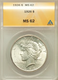 Peace Dollars: , 1926 $1 MS62 ANACS. NGC Census: (736/6574). PCGS Population(1017/7930). Mintage: 1,939,000. Numismedia Wsl. Price for prob...
