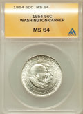 Commemorative Silver: , 1954 50C Washington-Carver MS64 ANACS. NGC Census: (351/372). PCGSPopulation (644/532). Mintage: 12,006. Numismedia Wsl. P...