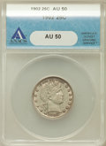 Barber Quarters: , 1902 25C AU50 ANACS. NGC Census: (4/220). PCGS Population (13/298).Mintage: 12,197,744. Numismedia Wsl. Price for problem ...