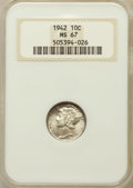 Mercury Dimes: , 1942 10C MS67 NGC. NGC Census: (826/7). PCGS Population (171/3). Mintage: 205,432,336. Numismedia Wsl. Price for problem fr...