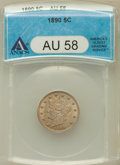 Liberty Nickels: , 1890 5C AU58 ANACS. NGC Census: (7/280). PCGS Population (19/360).Mintage: 16,259,272. Numismedia Wsl. Price for problem f...