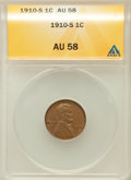 Lincoln Cents: , 1910-S 1C AU58 ANACS. NGC Census: (17/157). PCGS Population(74/168). Mintage: 6,045,000. Numismedia Wsl. Price for problem...
