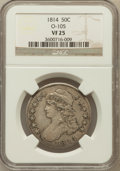 Bust Half Dollars, 1814 50C VF25 NGC. O-105. NGC Census: (13/572). PCGS Population(25/520). Mintage: 1,039,075. Numismedia Wsl. Price for pro...