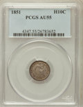 Seated Half Dimes: , 1851 H10C AU55 PCGS. PCGS Population (7/95). NGC Census: (8/127).Mintage: 781,000. Numismedia Wsl. Price for problem free ...