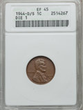 Lincoln Cents: , 1944-D/S 1C XF45 ANACS. Die 1. NGC Census: (26/61). PCGS Population(29/50). Mintage: 430,577,984. Numismedia Wsl. Price f...