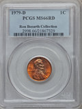 Lincoln Cents, 1979-D 1C MS66 Red PCGS. Ex: Ron Bozarth Collection. PCGSPopulation (140/15). NGC Census: (0/0). Numismedia Wsl. Price fo...