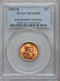 Lincoln Cents, 1952-D 1C MS66 Red PCGS. Ex: Ron Bozarth Collection. PCGSPopulation (1231/52). NGC Census: (1117/174). Mintage:46,130,000...