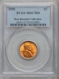 Lincoln Cents, 1935 1C MS67 Red PCGS. Ex: Ron Bozarth Collection. PCGS Population(437/5). NGC Census: (456/0). Mintage: 245,388,000. Numi...