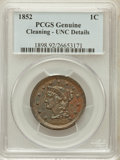 Large Cents, 1852 1C -- Cleaning -- PCGS Genuine. UNC Details. NGC Census:(3/666). PCGS Population (8/421). Mintage: 5,063,094. Num...