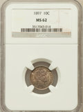 Barber Dimes: , 1897 10C MS62 NGC. NGC Census: (64/259). PCGS Population (68/275).Mintage: 10,869,264. Numismedia Wsl. Price for problem f...