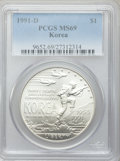 Modern Issues, 1991-D $1 Korean War Silver Dollar MS69 PCGS. PCGS Population(2669/263). NGC Census: (1848/289). Mintage: 213,049. Numisme...