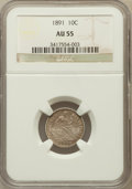 Seated Dimes: , 1891 10C AU55 NGC. NGC Census: (19/846). PCGS Population (33/775).Mintage: 15,310,600. Numismedia Wsl. Price for problem f...