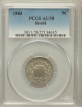 Shield Nickels: , 1883 5C AU58 PCGS. PCGS Population (248/1545). NGC Census:(121/1368). Mintage: 1,456,919. Numismedia Wsl. Price for proble...
