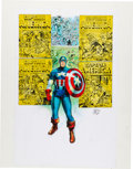 Memorabilia:Comic-Related, Joe Simon Signed Captain America Print Collage (1998)....
