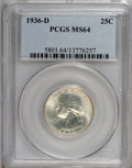 Washington Quarters: , 1936-D 25C MS64 PCGS. PCGS Population (554/383). NGC Census:(264/191). Mintage: 5,374,000. Numismedia Wsl. Price for NGC/P...