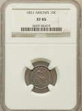 Seated Dimes: , 1853 10C Arrows XF45 NGC. NGC Census: (12/731). PCGS Population(41/688). Mintage: 12,078,010. Numismedia Wsl. Price for pr...