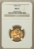 Jefferson Nickels: , 1950-D 5C MS67 NGC. NGC Census: (211/0). PCGS Population (11/0).Mintage: 2,630,030. Numismedia Wsl. Price for problem free...