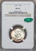 Washington Quarters: , 1941 25C MS67 NGC. CAC. NGC Census: (195/2). PCGS Population(85/1). Mintage: 79,047,288. Numismedia Wsl. Price for problem...