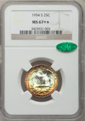 Washington Quarters, 1954-S 25C MS67+ ★ NGC. CAC....