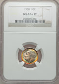Roosevelt Dimes: , 1958 10C MS67 ★ Full Bands NGC. NGC Census: (8/0). PCGS Population (4/0). Mintage: 31,100,000...