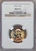 Washington Quarters: , 1954-S 25C MS67 ★ NGC. NGC Census: (283/2). PCGS Population (45/1).Mintage: 11,834,722. Numi...