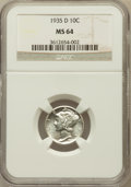 Mercury Dimes: , 1935-D 10C MS64 NGC. NGC Census: (75/154). PCGS Population(141/170). Mintage: 10,477,000. Numismedia Wsl. Price for proble...