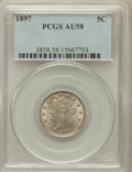 Liberty Nickels: , 1897 5C AU58 PCGS. PCGS Population (55/531). NGC Census: (13/404).Mintage: 20,428,736. Numismedia Wsl. Price for problem f...