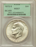 Eisenhower Dollars: , 1972-S $1 Silver MS67 PCGS. PCGS Population (5761/1501). NGC Census: (1385/392). Mintage: 2,193,056. Numismedia Wsl. Price ...