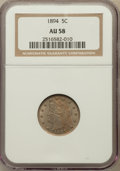 Liberty Nickels: , 1894 5C AU58 NGC. NGC Census: (14/250). PCGS Population (34/352).Mintage: 5,413,132. Numismedia Wsl. Price for problem fre...