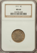 Liberty Nickels: , 1911 5C MS64 NGC. NGC Census: (444/184). PCGS Population (535/251).Mintage: 39,559,372. Numismedia Wsl. Price for problem ...