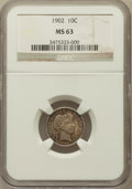 Barber Dimes: , 1902 10C MS63 NGC. NGC Census: (36/76). PCGS Population (36/79).Mintage: 21,380,776. Numismedia Wsl. Price for problem fre...