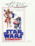 "Movie Posters:Science Fiction, Star Wars Concert Lot (20th Century Fox, 1977-1988). Signed Page(9"" X 12""), Program (8.5"" X 14""), & Poster (9"" X 23""). Fr...(Total: 3 Item)"