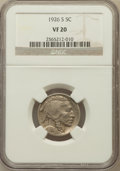 Buffalo Nickels: , 1926-S 5C VF20 NGC. NGC Census: (191/887). PCGS Population(256/994). Mintage: 970,000. Numismedia Wsl. Price for problem f...