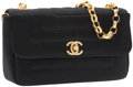 Luxury Accessories:Bags, Chanel Black Satin Mini Flap Bag with Gold Hardware. ...