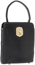 Luxury Accessories:Bags, Kieselstein Cord Black Leather Top Handle Bag with Gold HorseDetail. ...