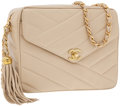 Luxury Accessories:Accessories, Chanel Beige Lambskin Leather Camera Bag with CC Logo and Tassel....