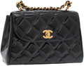 Luxury Accessories:Accessories, Chanel Black Patent Leather Flap Bag with Chain Top Handle. ...