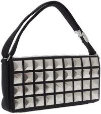 Chanel Black Fabric Flap Bag with Gunmetal Pyramid Studs