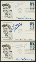 Baseball Collectibles:Others, Willie Mays and Duke Snider Multi Signed First Day Covers Lot of3....