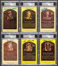 Baseball Collectibles:Others, Baseball Greats Signed Hall of Fame Plaque Postcards Lot of 6....