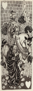 Pulp, Pulp-like, Digests, and Paperback Art, LEO AND DIANE DILLON (American, b. 1933). The Knight and the OldHag, West Park, story illustration, 1958. Charcoal penc...
