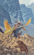 Pin-up and Glamour Art, DARRELL K. SWEET (American, b. 1934). The Way to Dawnworld,paperback cover, 1983. Gouache on board. 23.75 x 15 in.. Sig...(Total: 2 Items)