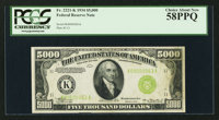 Fr. 2221-K $5,000 1934 Federal Reserve Note. PCGS Choice About New 58PPQ