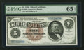 Large Size:Silver Certificates, Fr. 263 $5 1886 Silver Certificate PMG Gem Uncirculated 65 EPQ.....