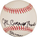 Autographs:Baseballs, Carmen Basilio Single Signed Baseball With Military Inscription....