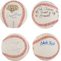 Autographs:Baseballs, Celebrities Single Signed Baseballs Lot Of 4. ...