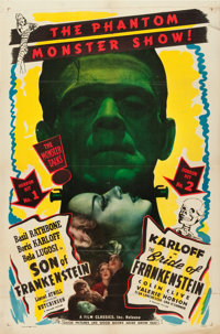 "Son of Frankenstein/Bride of Frankenstein Combo (Realart, R-1948). One Sheet (27"" X 41"")"