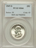 Washington Quarters: , 1947-S 25C MS66 PCGS. PCGS Population (1654/160). NGC Census:(2156/655). Mintage: 5,532,000. Numismedia Wsl. Price for pro...