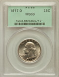 Washington Quarters: , 1977-D 25C MS66 PCGS. PCGS Population (93/25). NGC Census: (21/10).Mintage: 256,524,976. Numismedia Wsl. Price for problem...